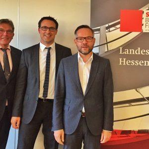 Landtagsabgeordneter Dieter Franz, Fraktions-Vize Sören Bartol MdB und Staatsminister Michael Roth MdB stellten sich den Fragen des Publikums.